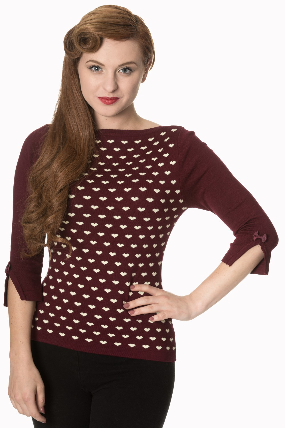 Retro 60s Charming Heart Knit Burgundy Sweater