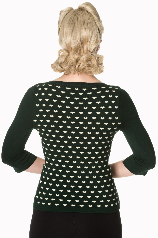 Retro 60s Charming Heart Knit Green Sweater