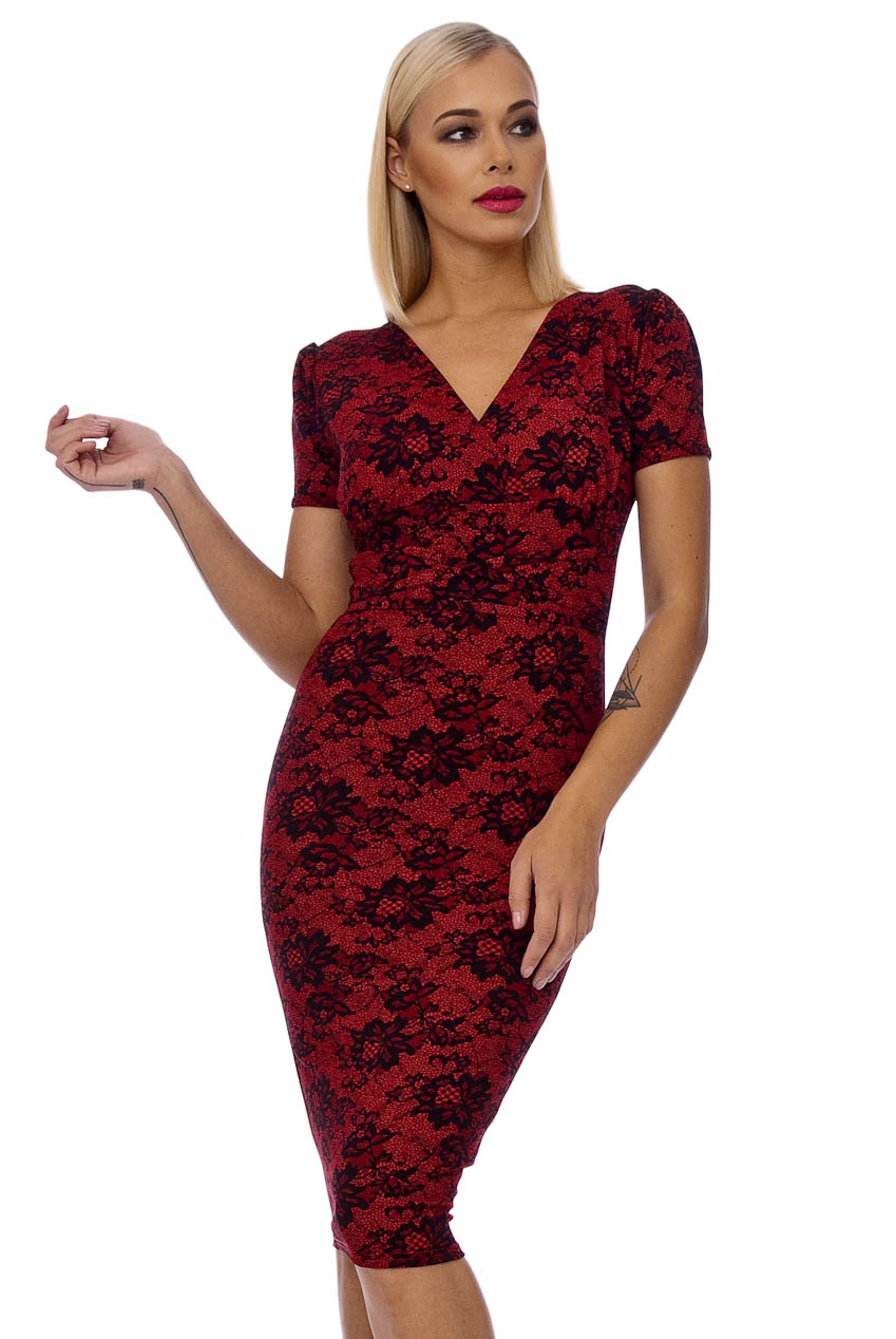 Vintage Dolls Red 50s Sally Lace Print Pencil Dress