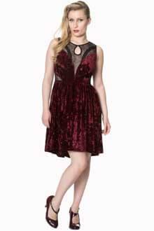 Banned Shadow Angel Velvet Burgundy Dress