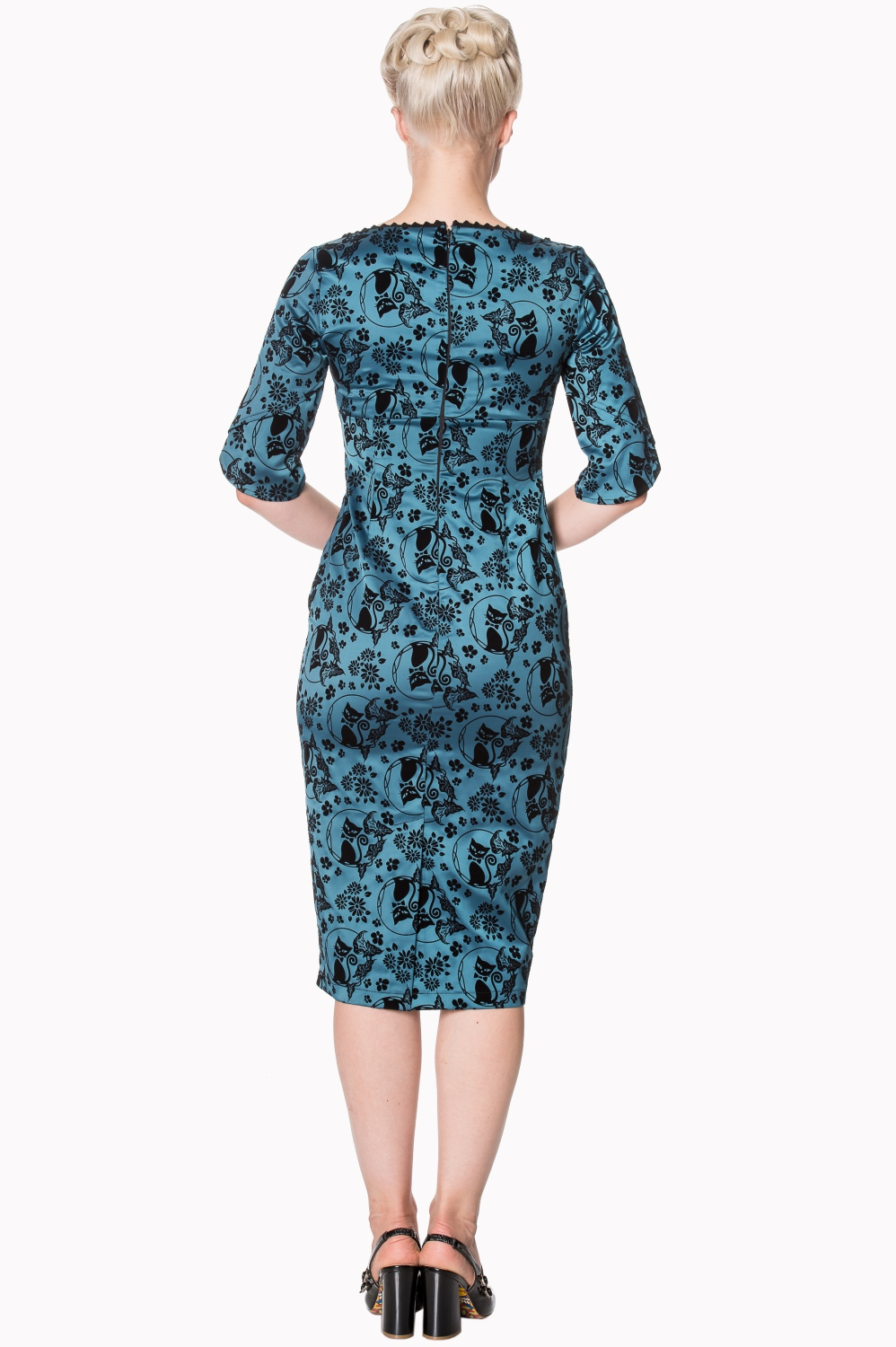 Dancing Days Retro Teal 50s Cat Dress