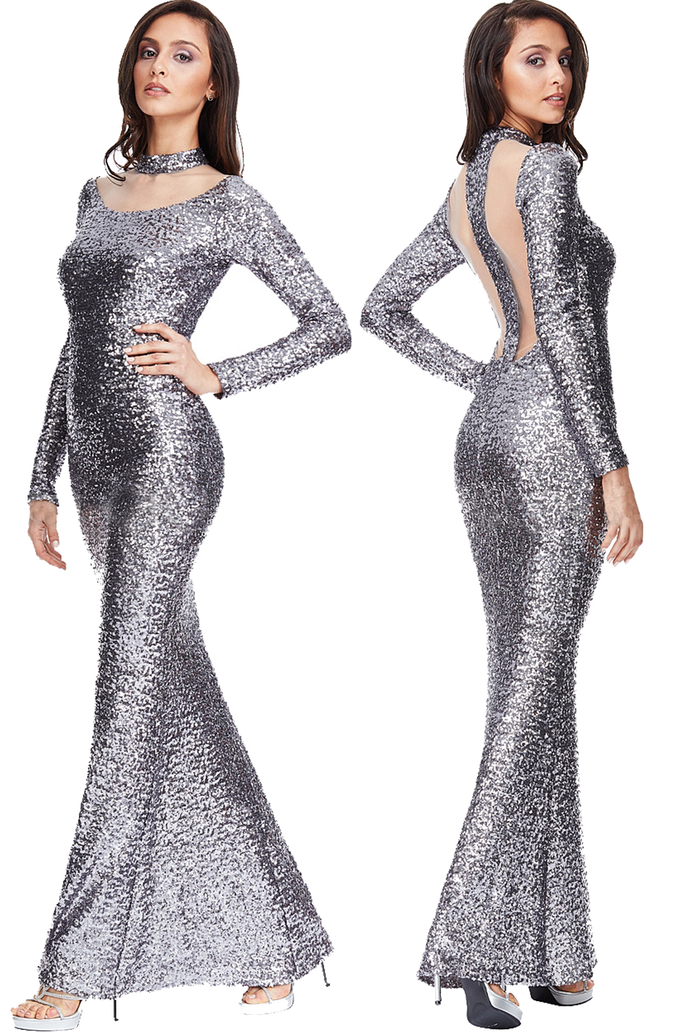Monroe Silver Sequin Maxi Fishtail Choker Dress