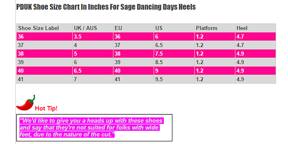 Dancing Days Sage Shoes Size Chart