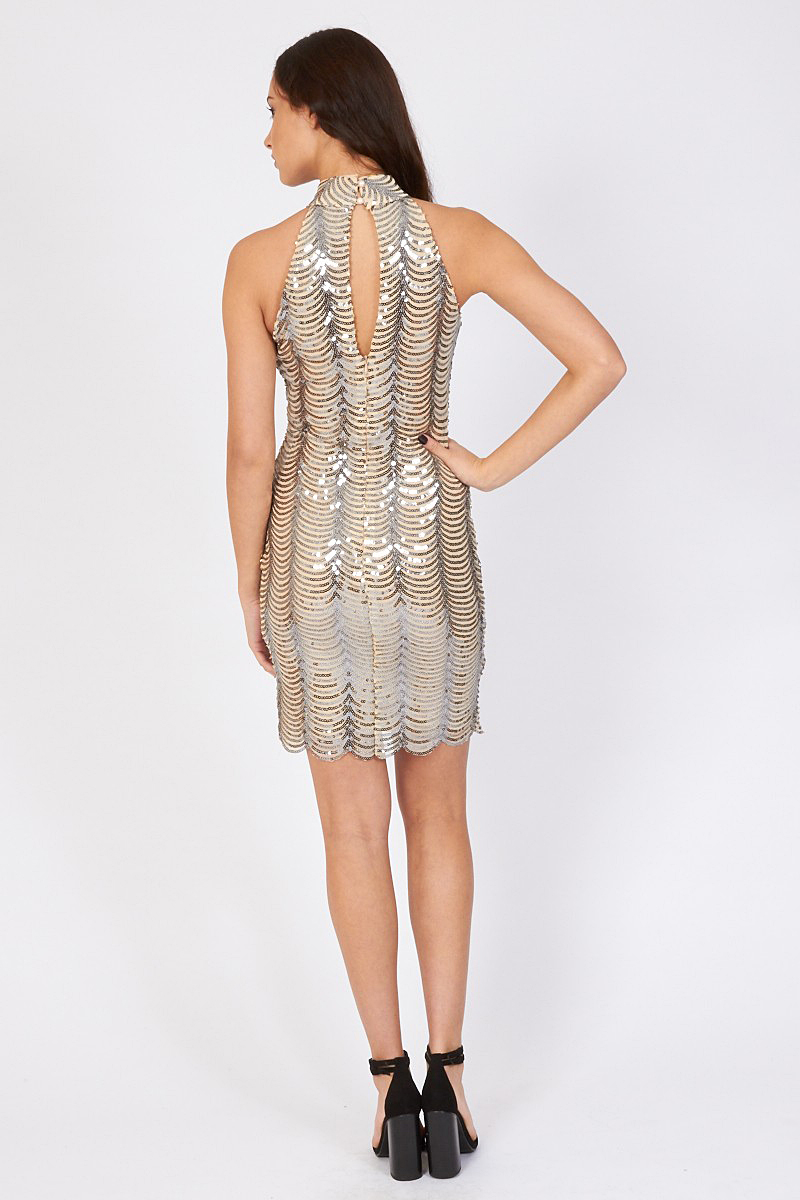 TFNC Scallop Sequin High Neck Dress Reverse