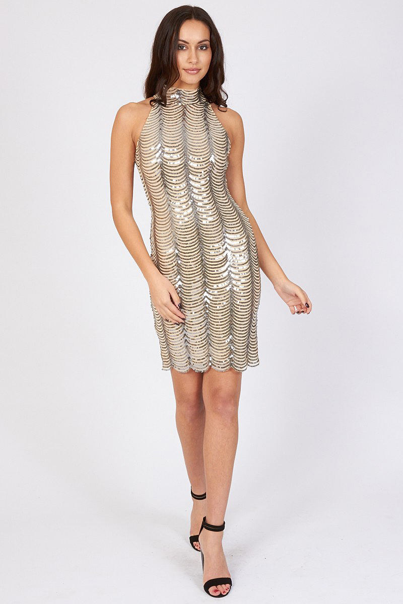 TFNC Scallop Sequin High Neck Dress