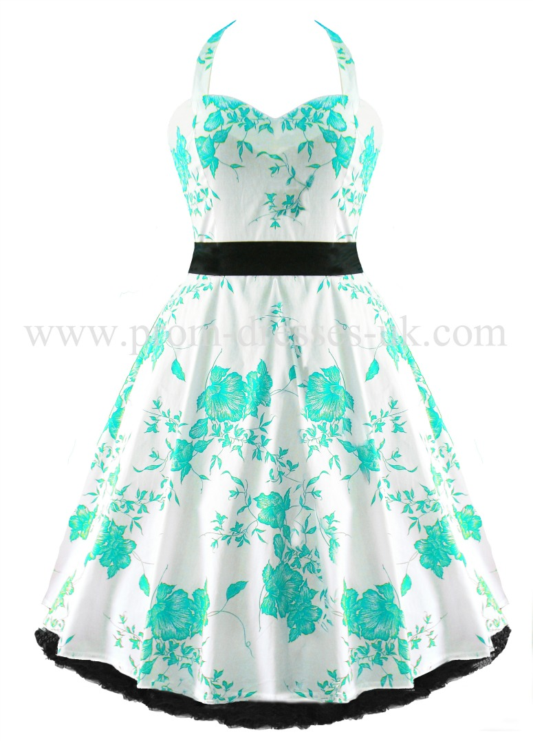 Turquoise Floral Prom Dress
