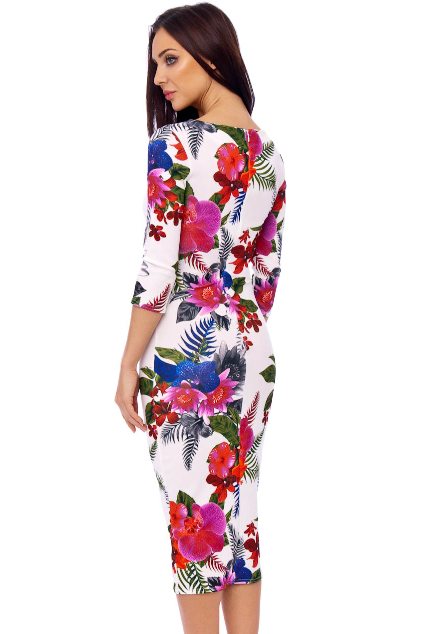 Ursula 60s Floral Wiggle Tropical Floral Dress In White
