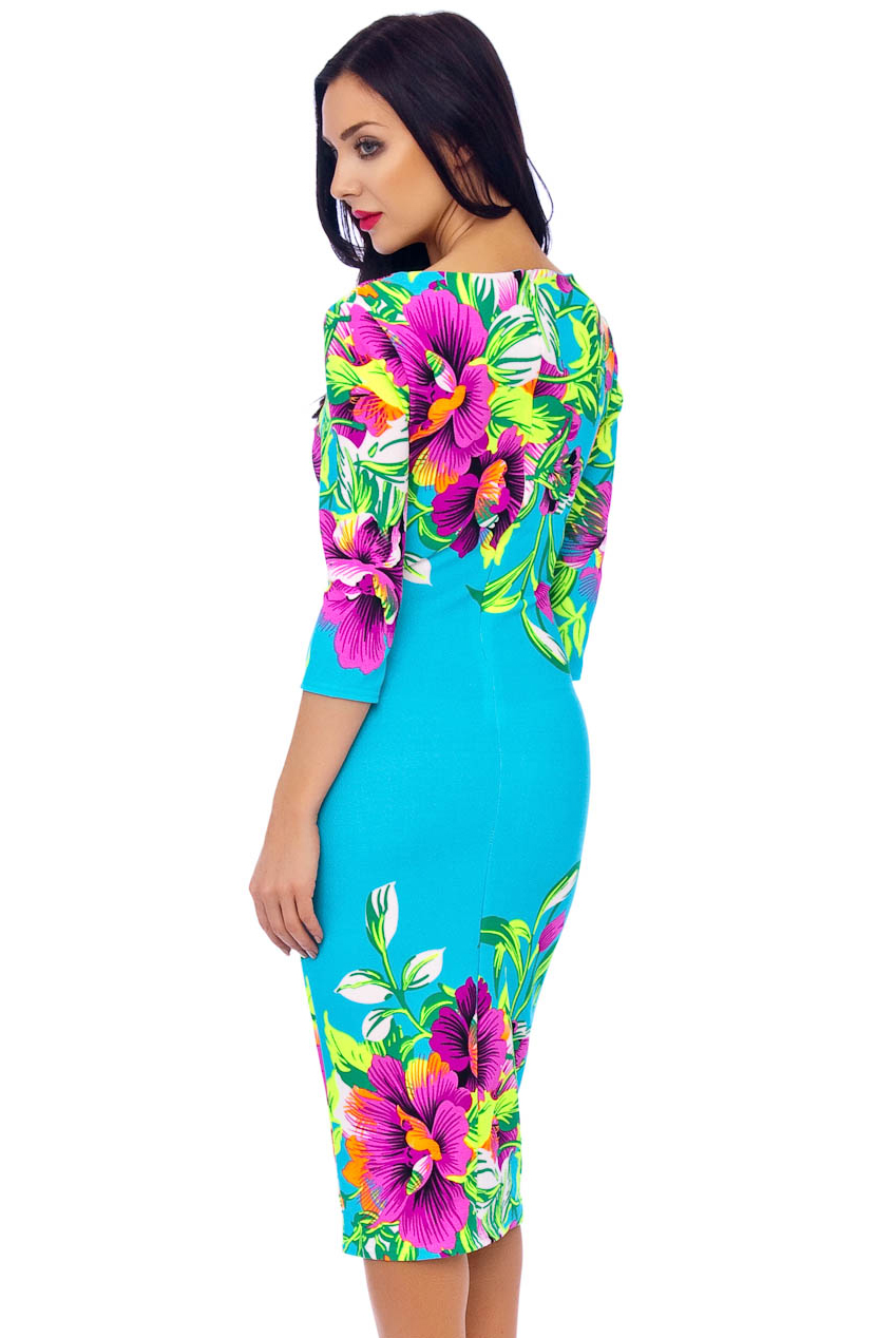 Ursula 60s Floral Wiggle Tropical Dress In Turquoise