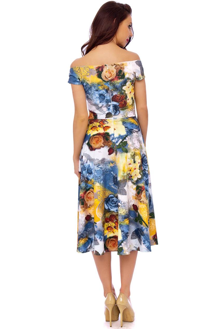 Brigitte Bardot Midi Prom Dress