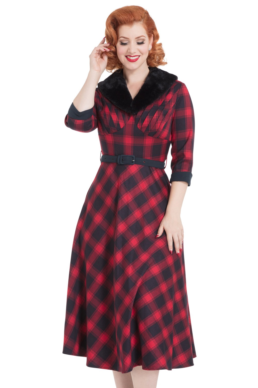 Vixen Bettie Tartan Red Dress