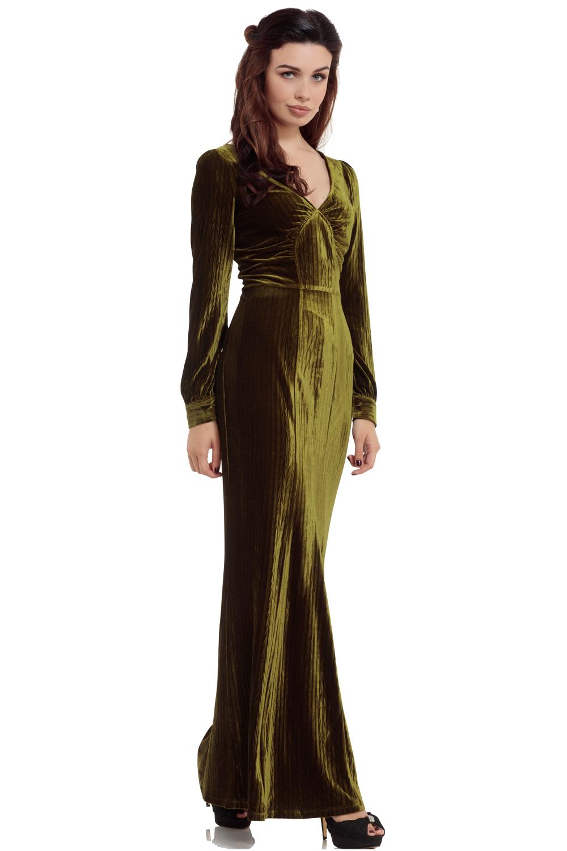 30s Vixen Olive Green Glamour Velvet Dress