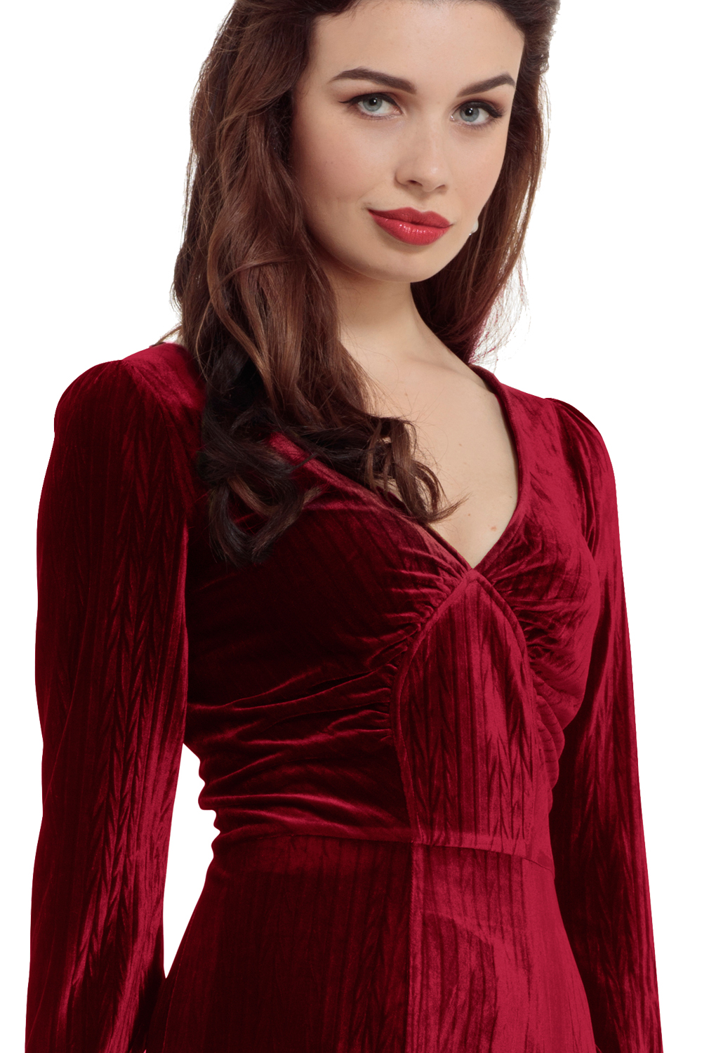 5ebd8eb7d6cd 30s Vixen Olive Wine Red Glamour Velvet Dress | V-Neck Retro Dress ...