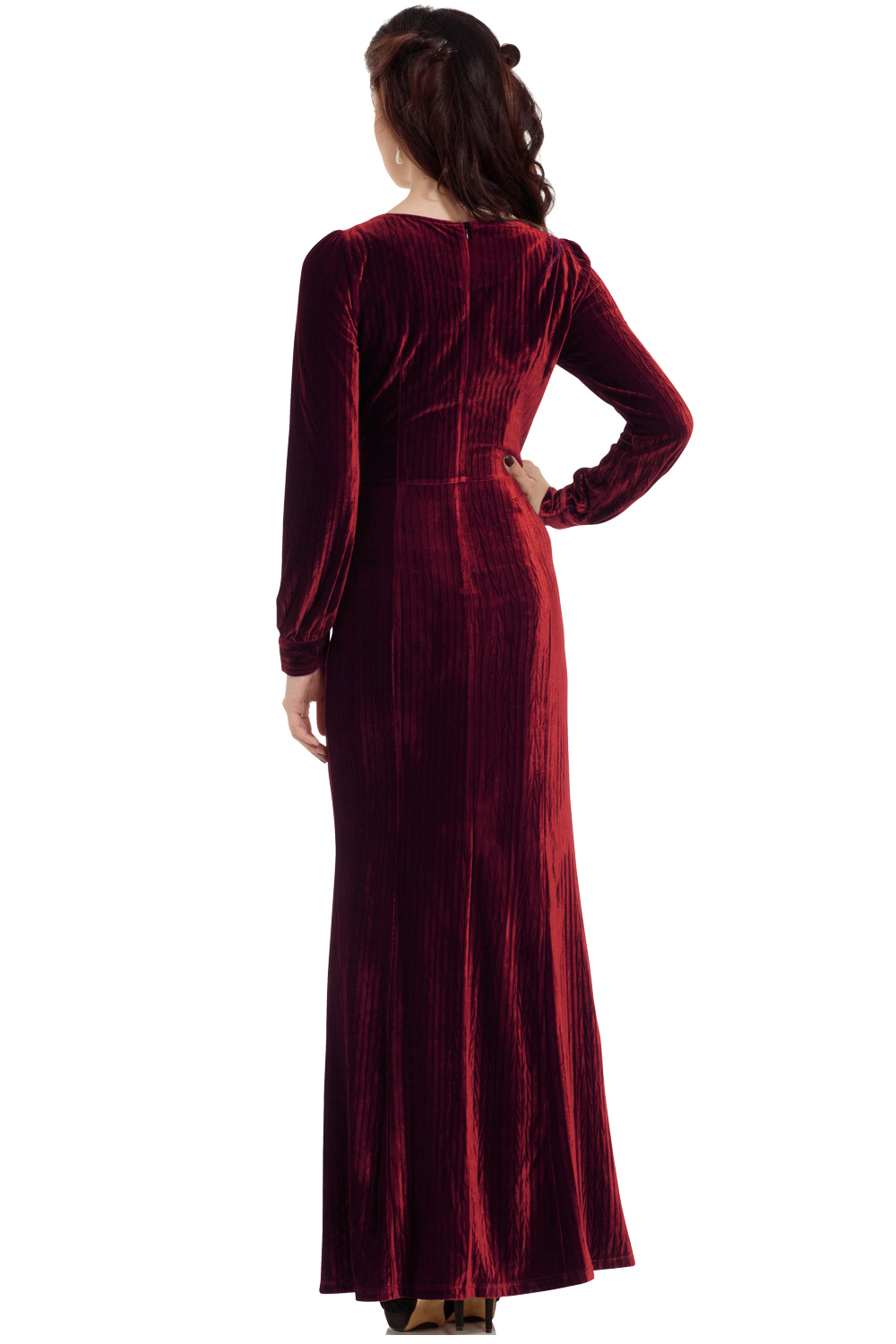 30s Vixen Olive Wine Red Glamour Velvet Dress V Neck