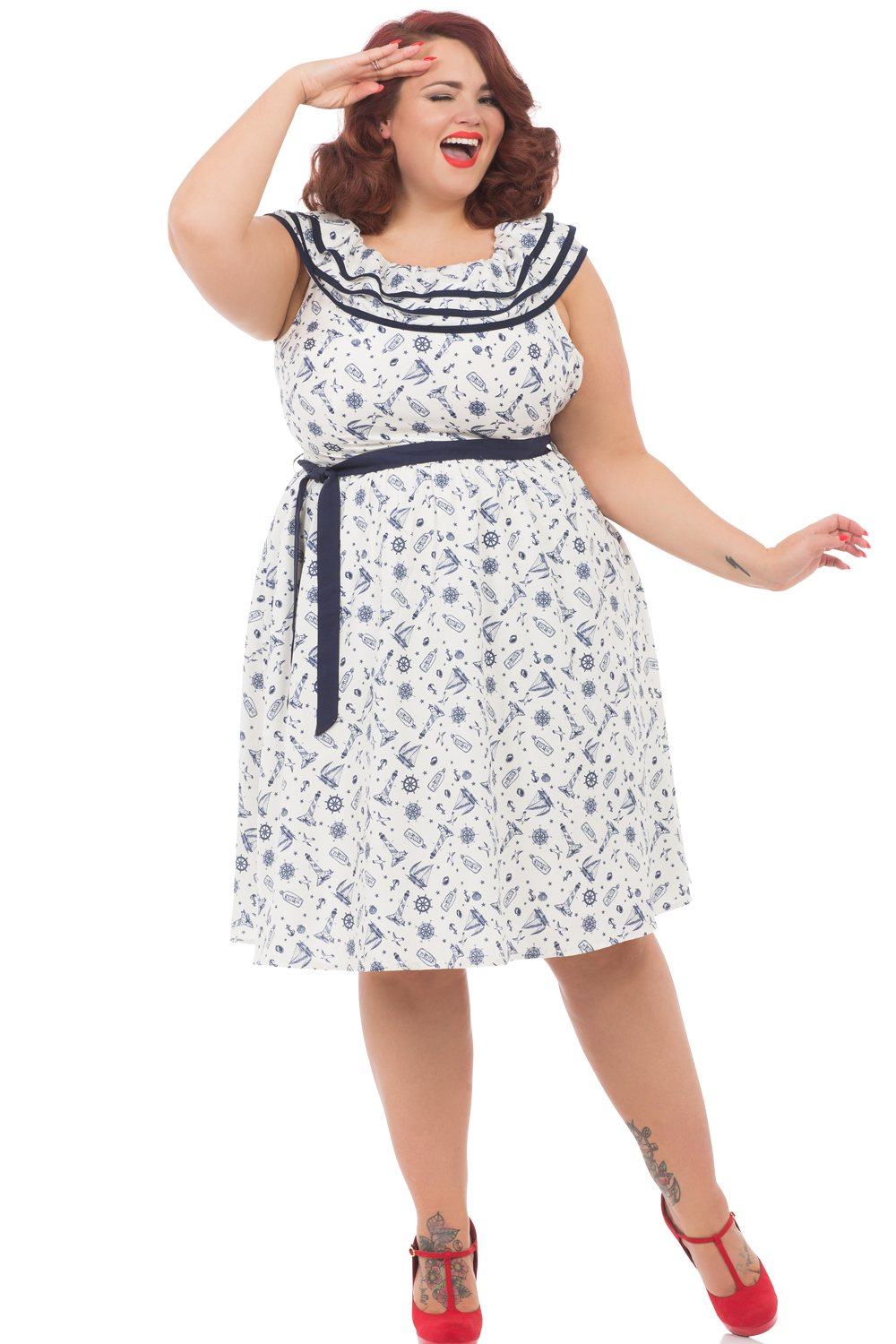 Voodoo Vixen Sailor Frilly St Tropez Plus Size Dress