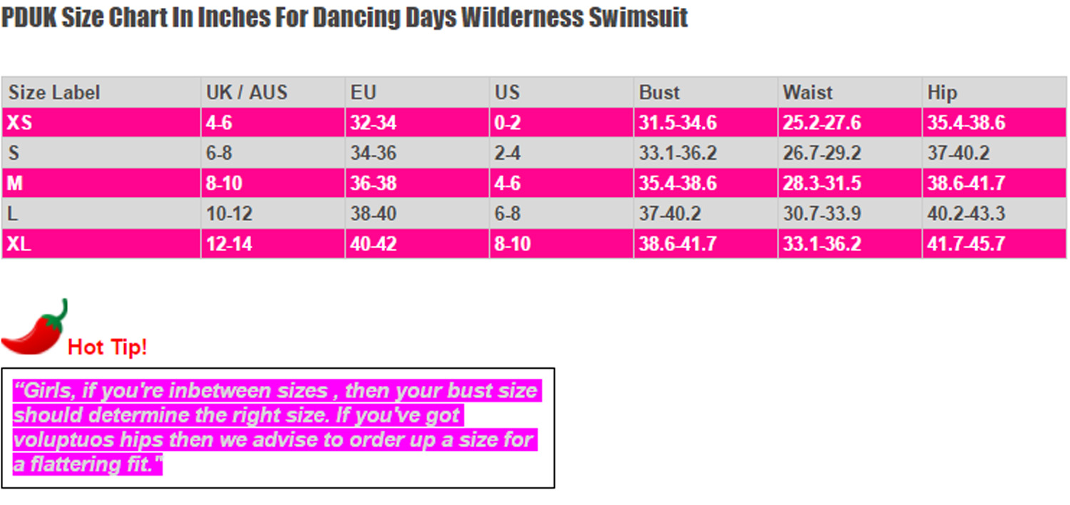 Dancing Days Wilderness Swimsuit Size Chart