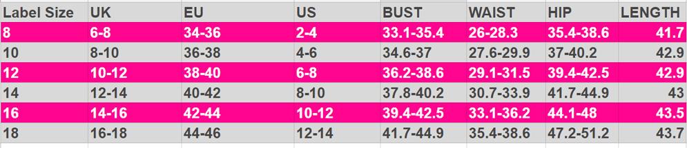 Abby Size Chart