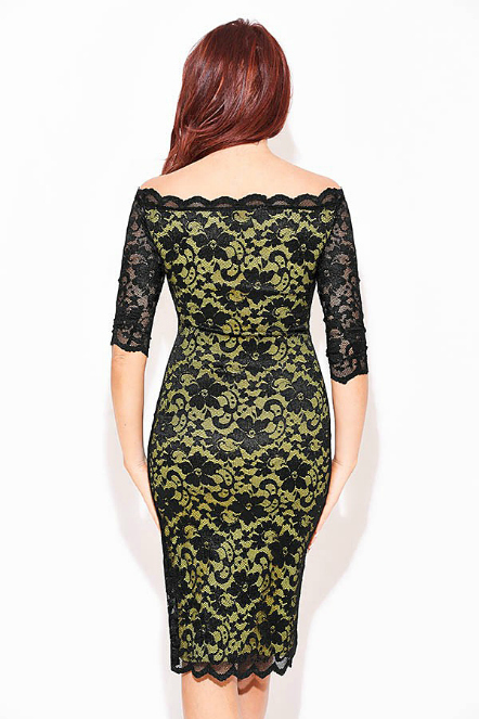 Enlarge Amy Childs Yellow Black lace Dress