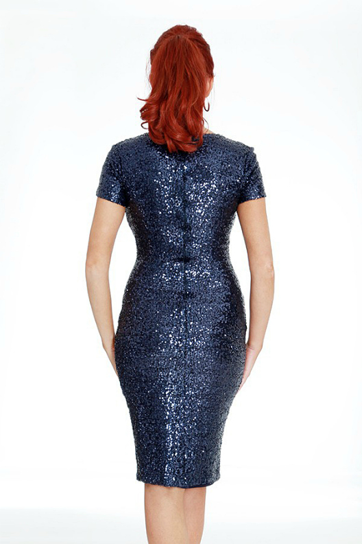 Amy Childs Vogue Midnight Blue Midi Sequin Dress