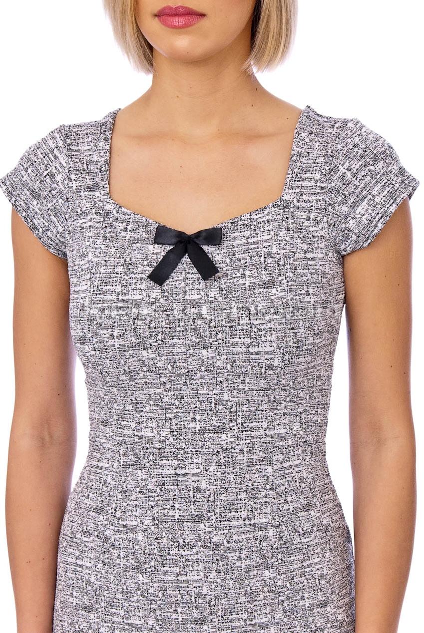 Annie 50s Bow Midi Pencil Dress In Grey