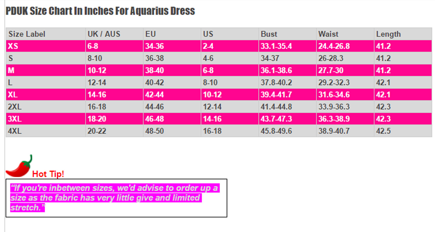Dancing Days Aquarius Size Chart