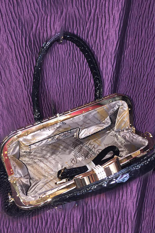 Audrey 40s Retro Glamour Diamondesque Crock Bag Black