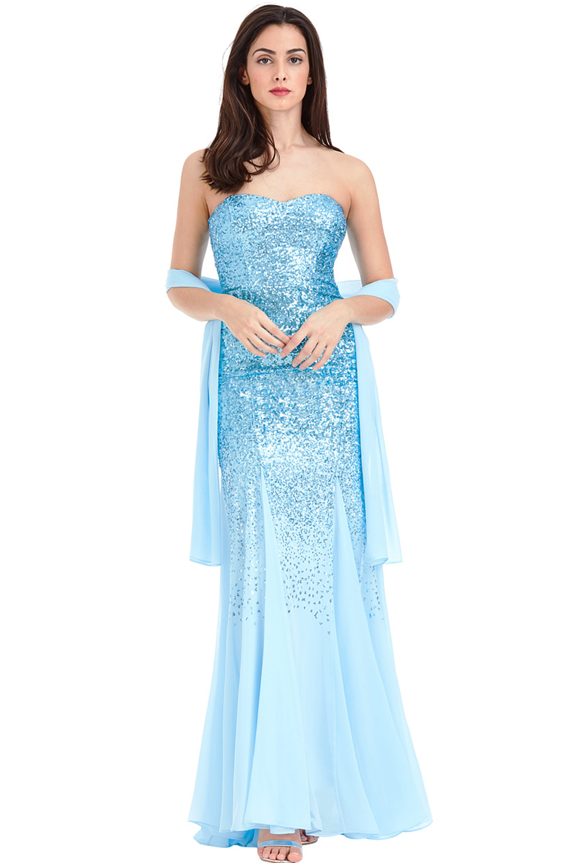 Azalea Blue Maxi Sequin Prom Dress