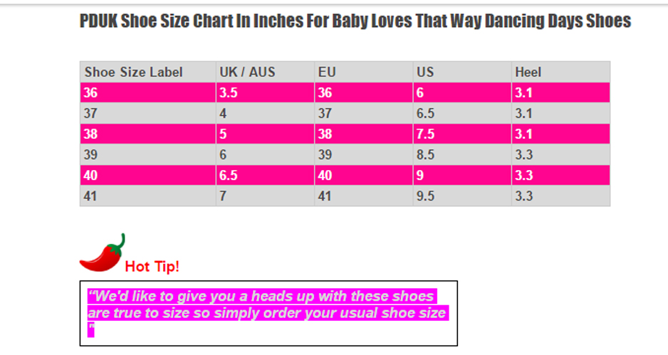 Dancing Days Baby Loves That Way 60s Brogue Monochrome Shoes Size Chart