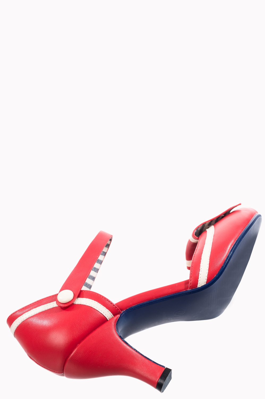 Banned Retro Beaufort Spice Nautical Vegan Heels In Red