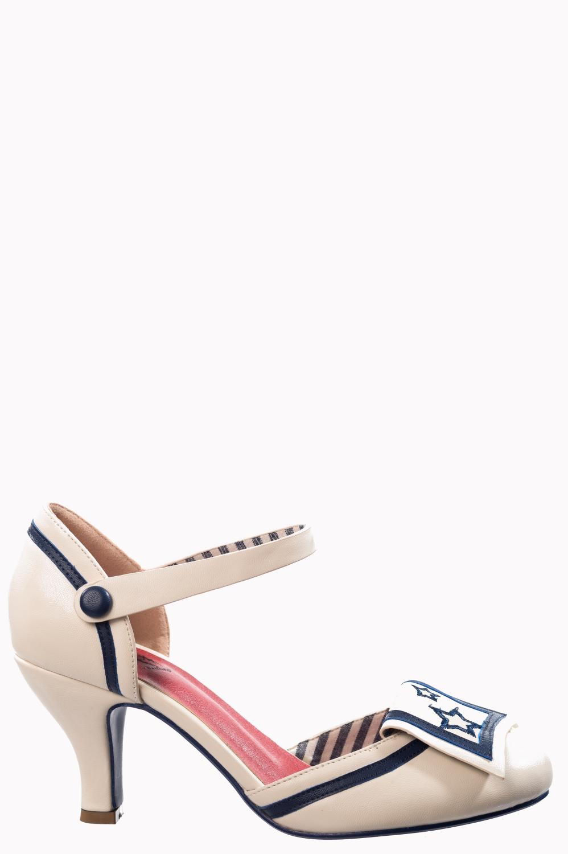 Banned Retro Beaufort Spice Nautical Vegan Heels In White