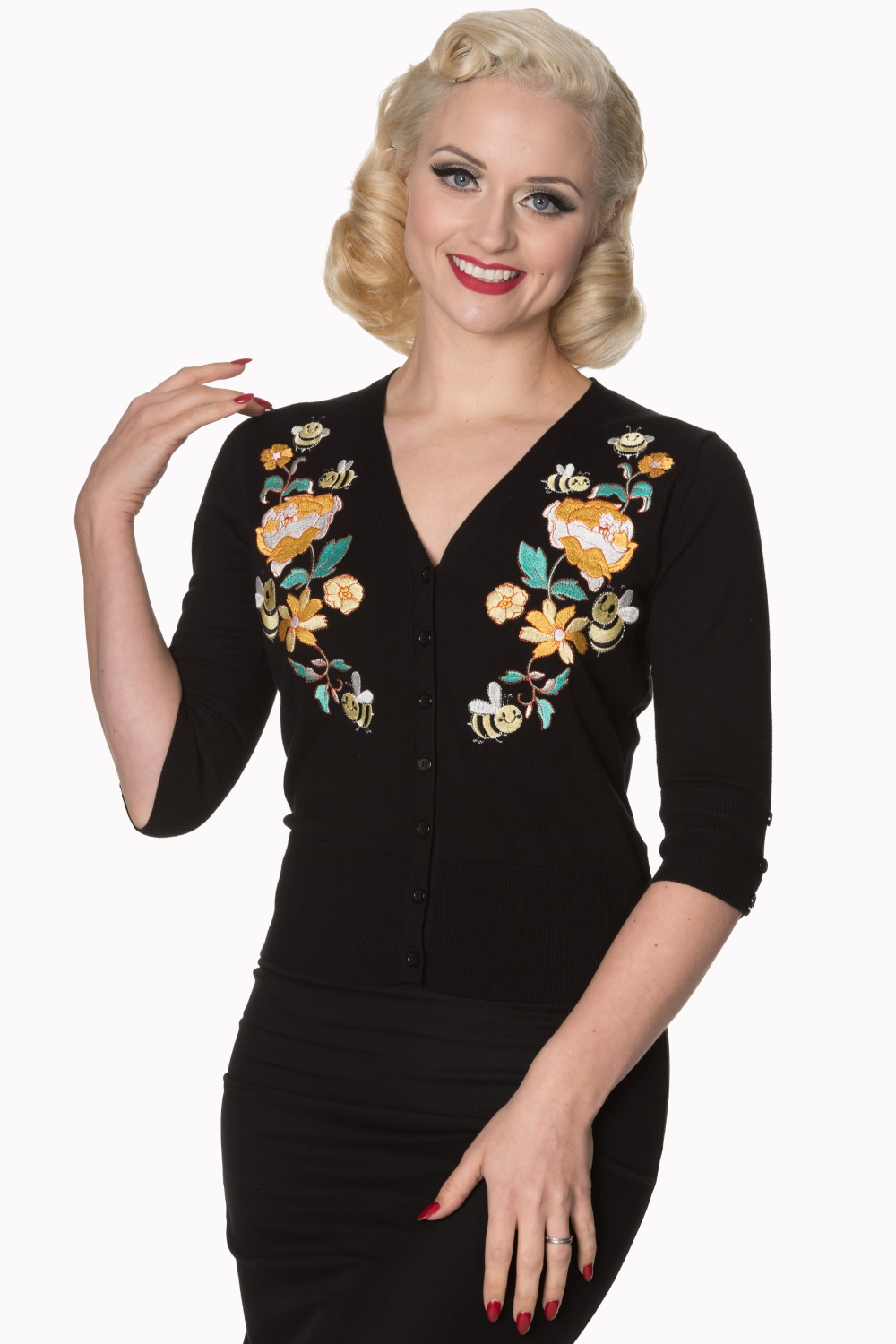 Banned Retro Black Bumble Bee Cardigan