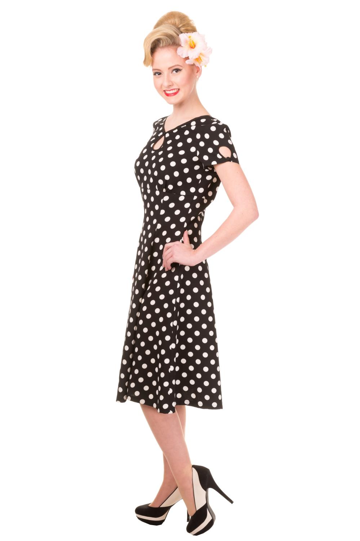 Banned Vintage Black Polka Dot Wonderwall 1940s Dress