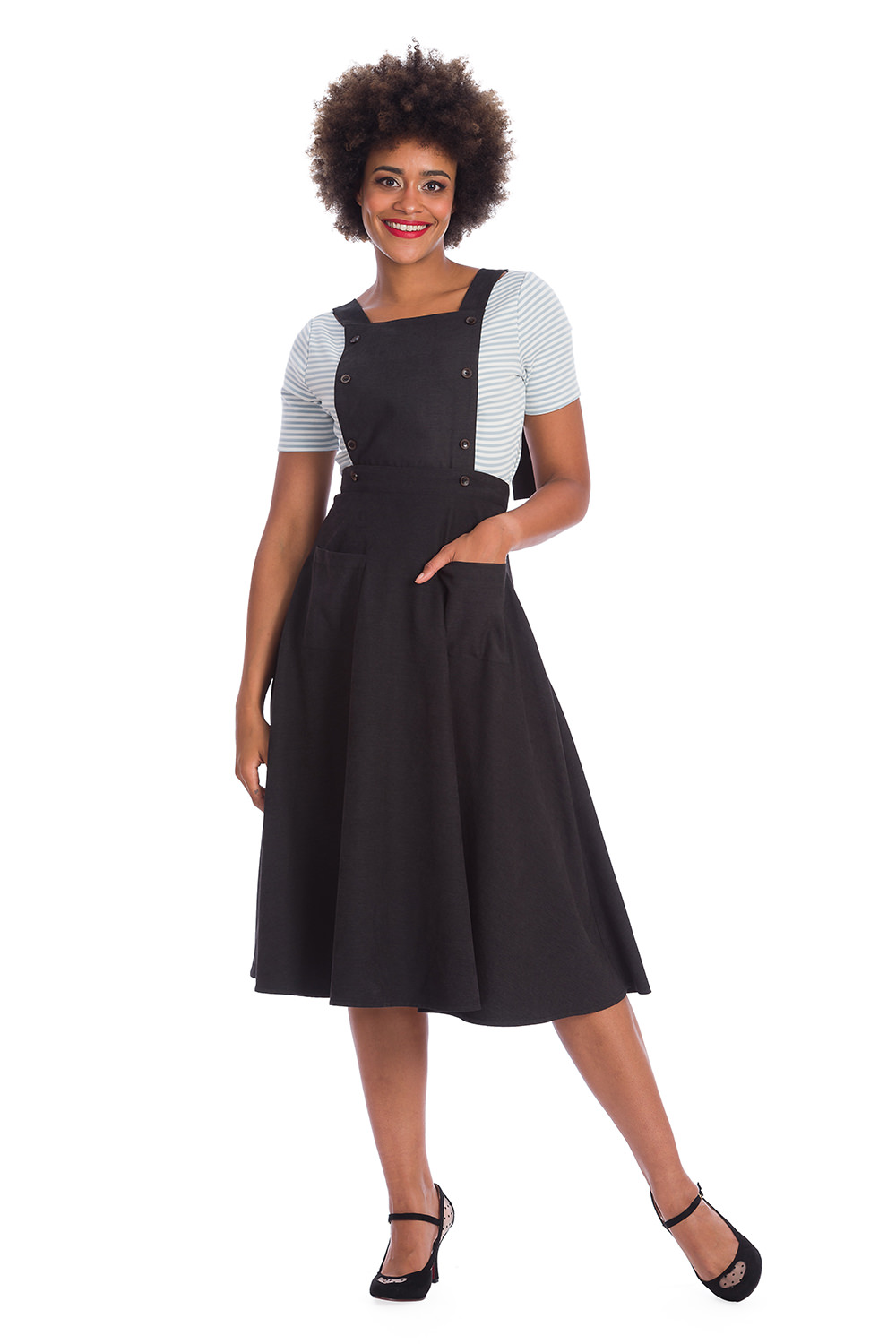 Banned Retro Book Smart Vintage Style Black Pinafore 50s Dress Skirt