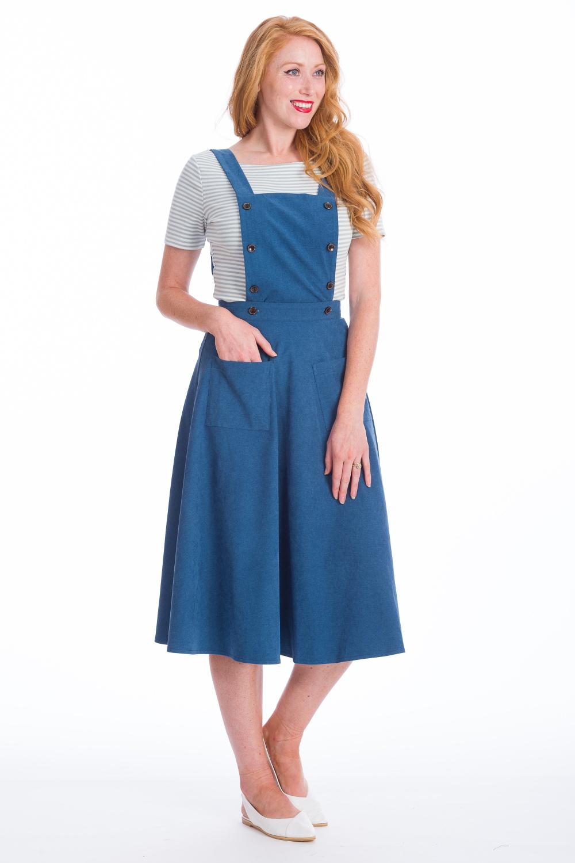 Banned Retro Book Smart Blue Pinafore 50s Dress Skirt