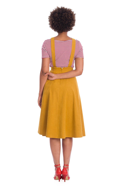 Banned Retro Book Smart Mustard Pinafore 50s Dress Skirt