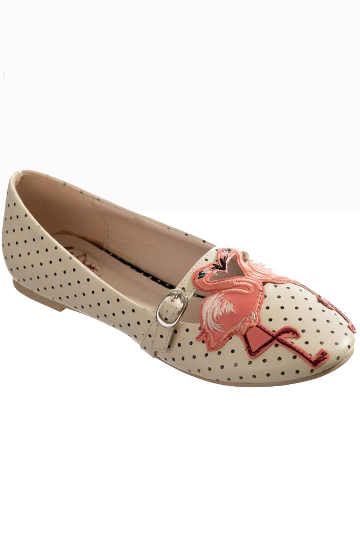 Flamingos In Love Nude Ballerina Polka Dot Flats