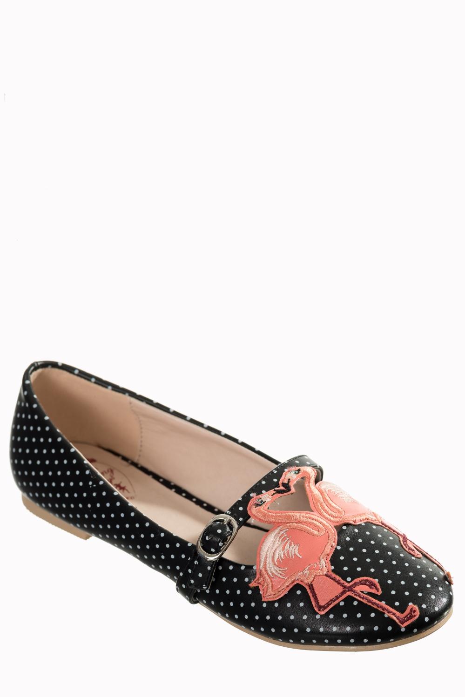 Flamingos In Love Black Ballerina Polka Dot Flats