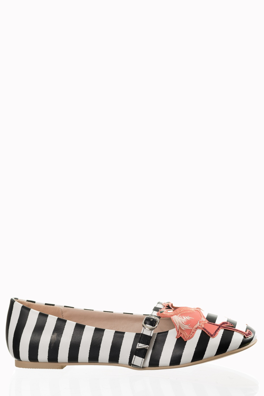 Flamingos In Love Stripe Ballerina Flats
