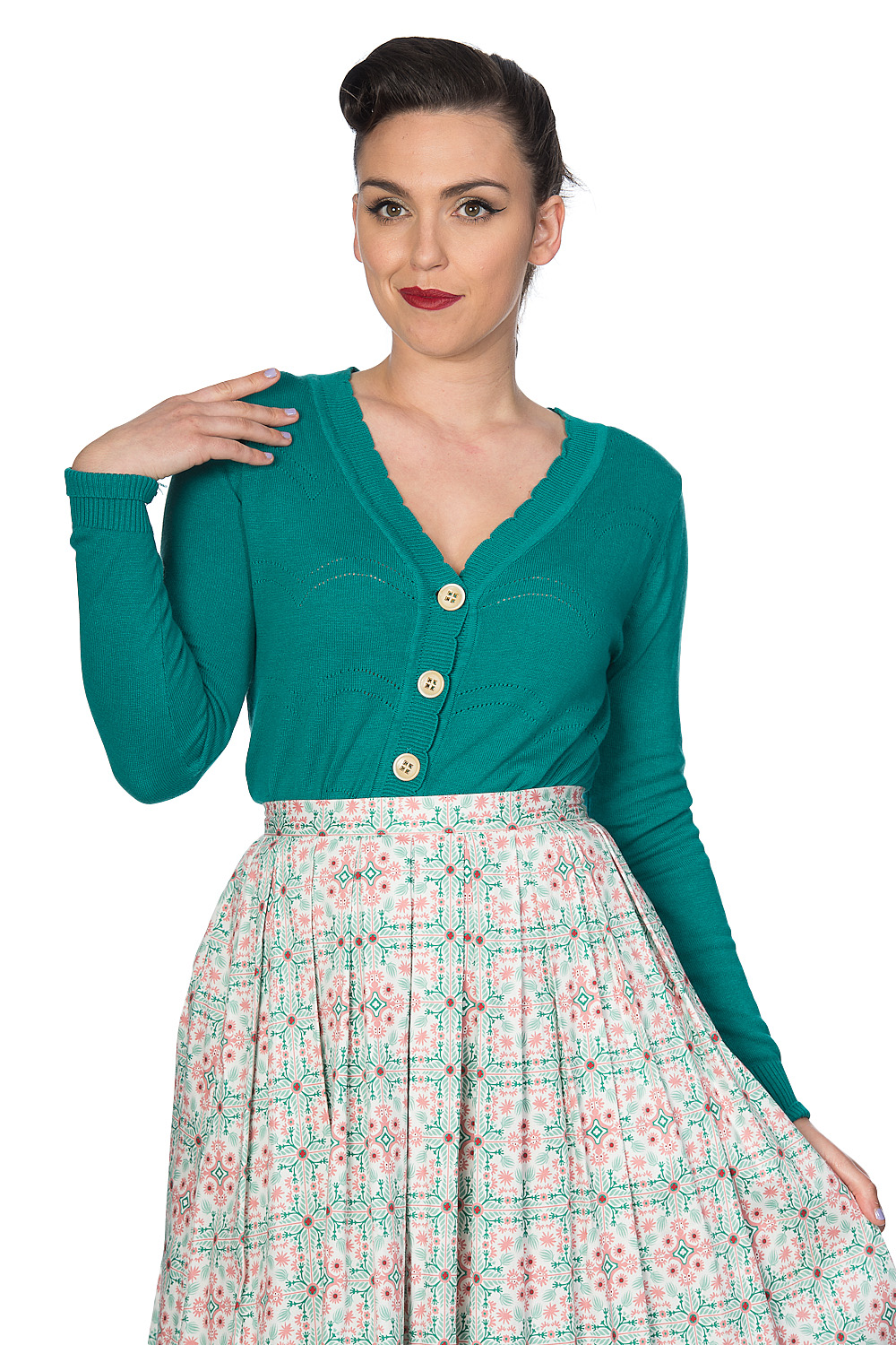 Banned Retro 50s June Pointelle Scalopped Cardigan In Green