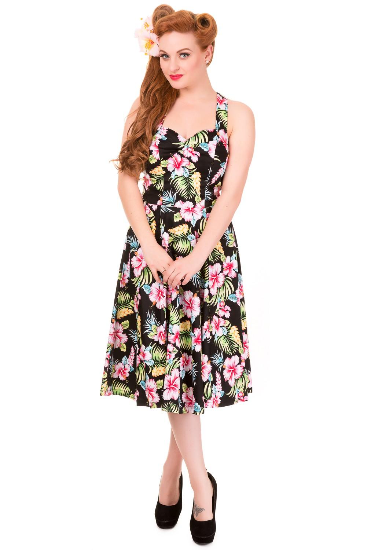 Banned Vintage Black Hawaii Prom Dress