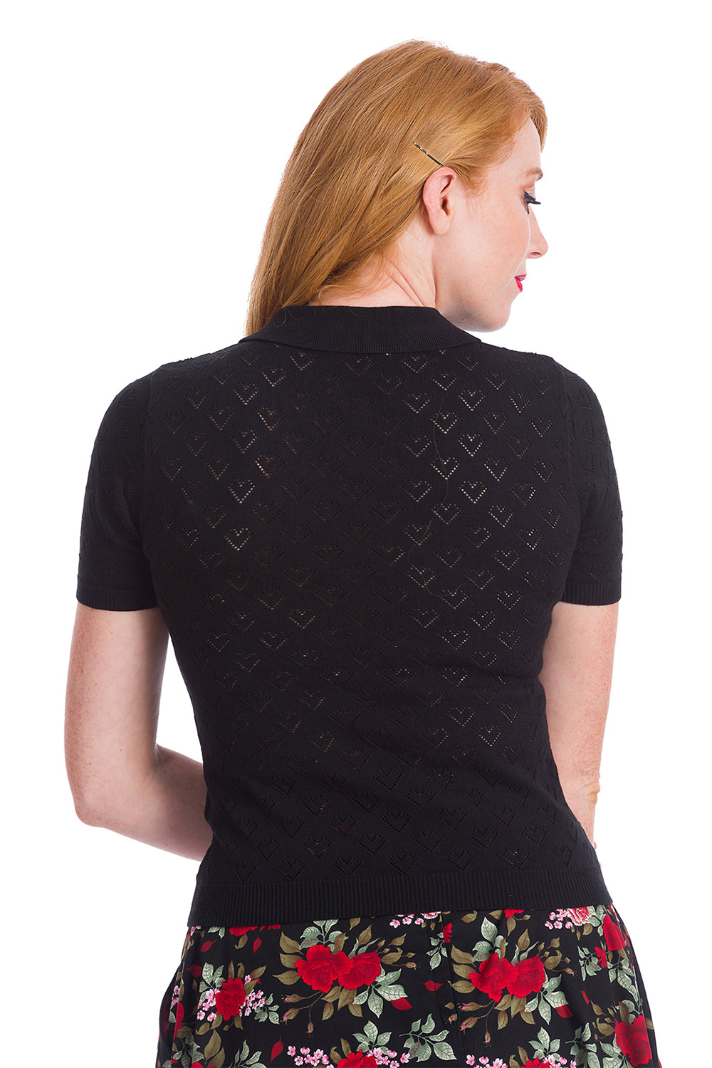 Banned 50s Smart Love Hearts Black Knit Top