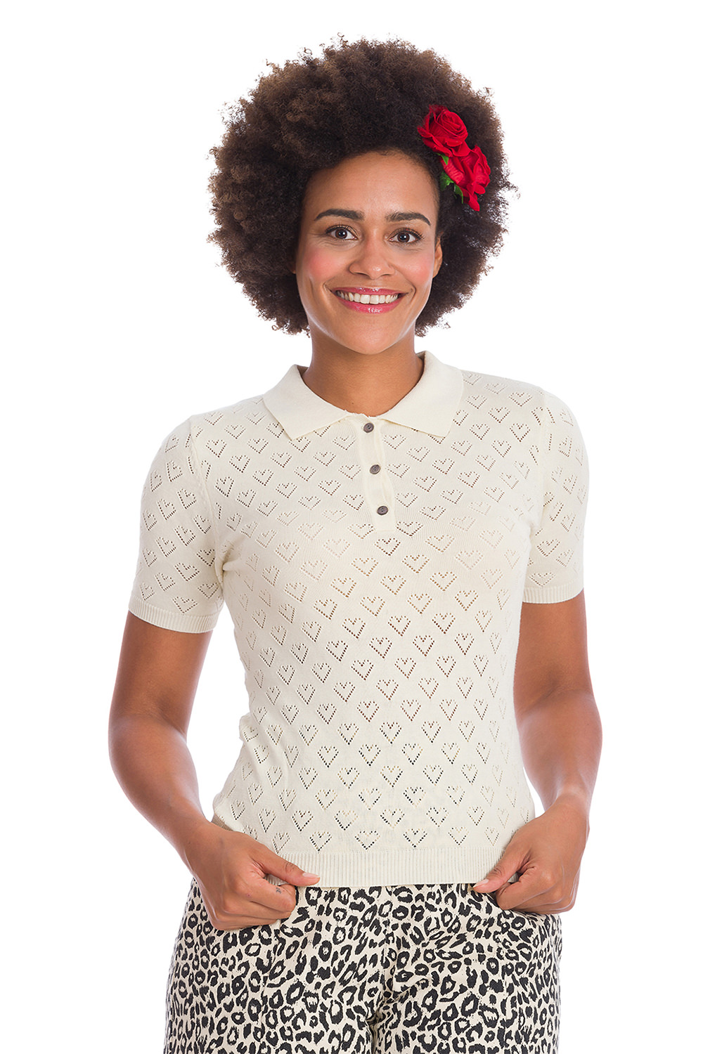 Banned 50s Smart Love Hearts Cream Knit Top