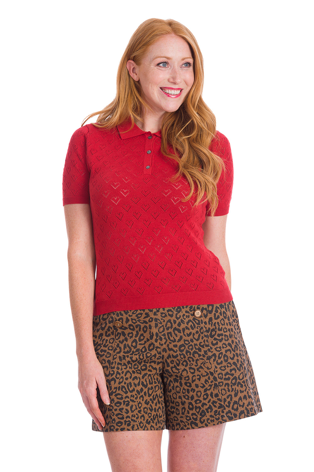Banned 50s Smart Love Hearts Knit Dark Red Top
