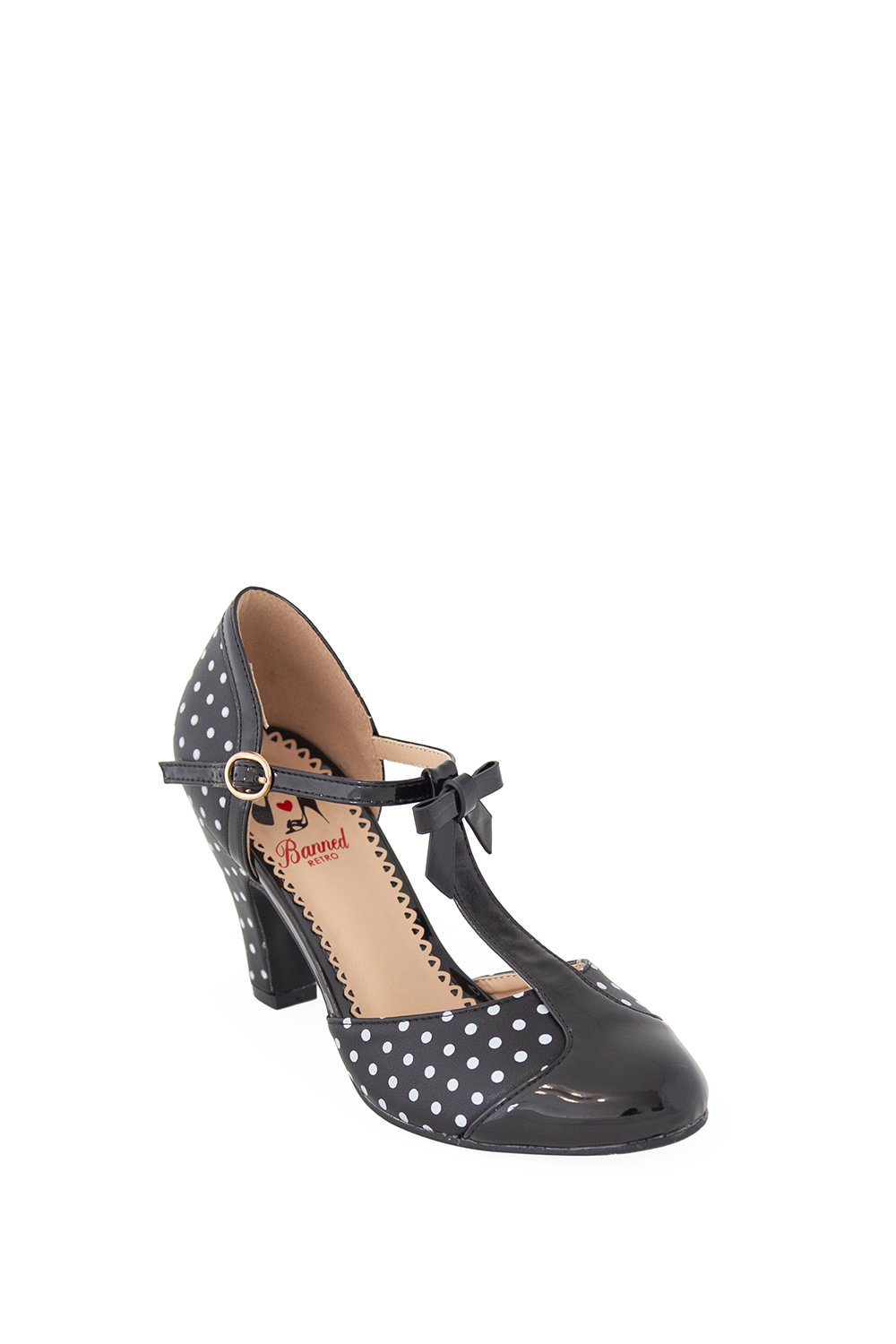 Banned Retro 50s Black Kelly Lee T Strap Shoes