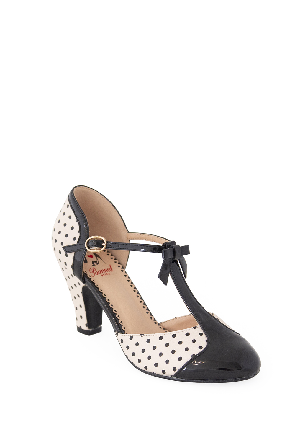 Banned Retro 50s Black And Blush Kelly Lee T Strap Shoes
