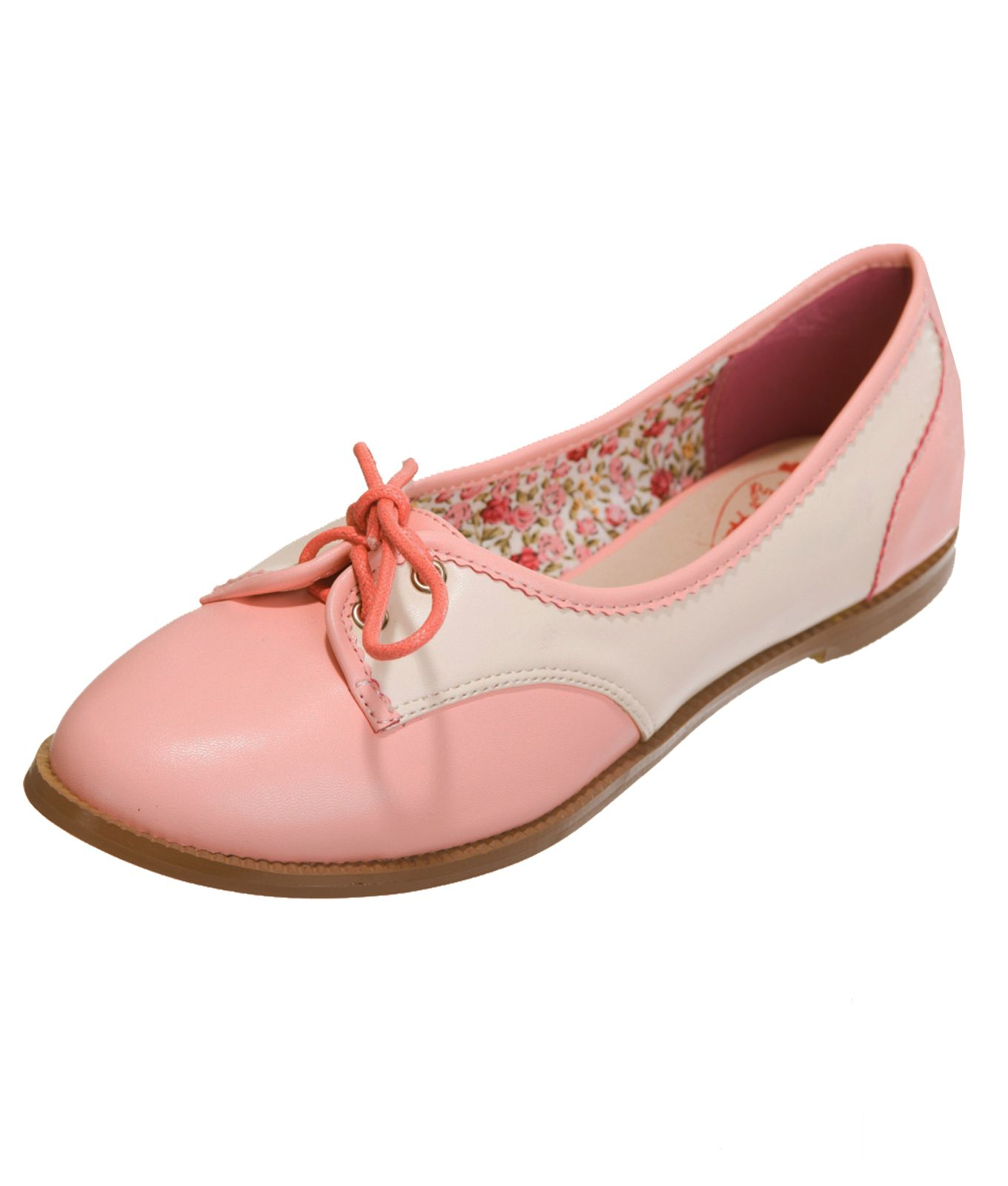 Banned Retro 50s Rockabilly Pink Cream Flats