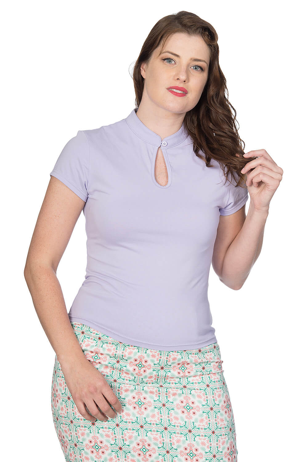 Banned Retro Lilac 50s Mandarin Collar Top