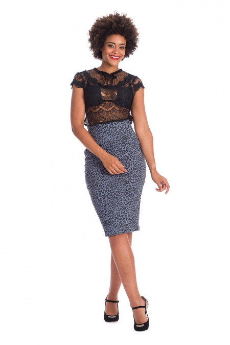 Banned Retro 50s Midnight Lace Top in Black