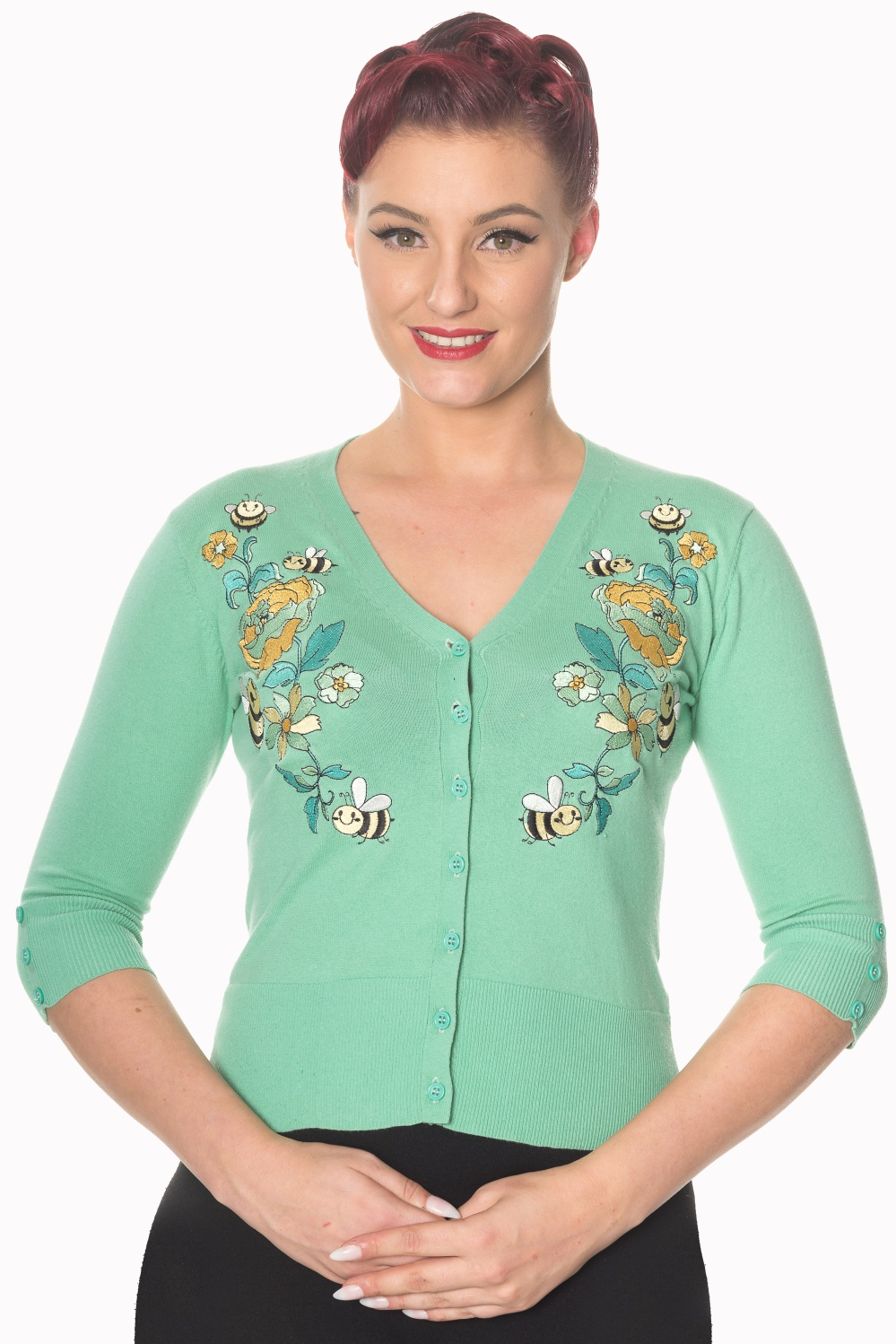 Banned Retro Mint Bumble Bee Cardigan