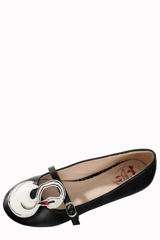 Banned Retro 50s Ballerina Swan Black Flats