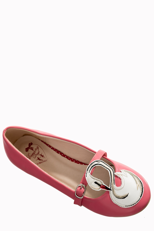Banned Retro 50s Ballerina Swan Pink Flats